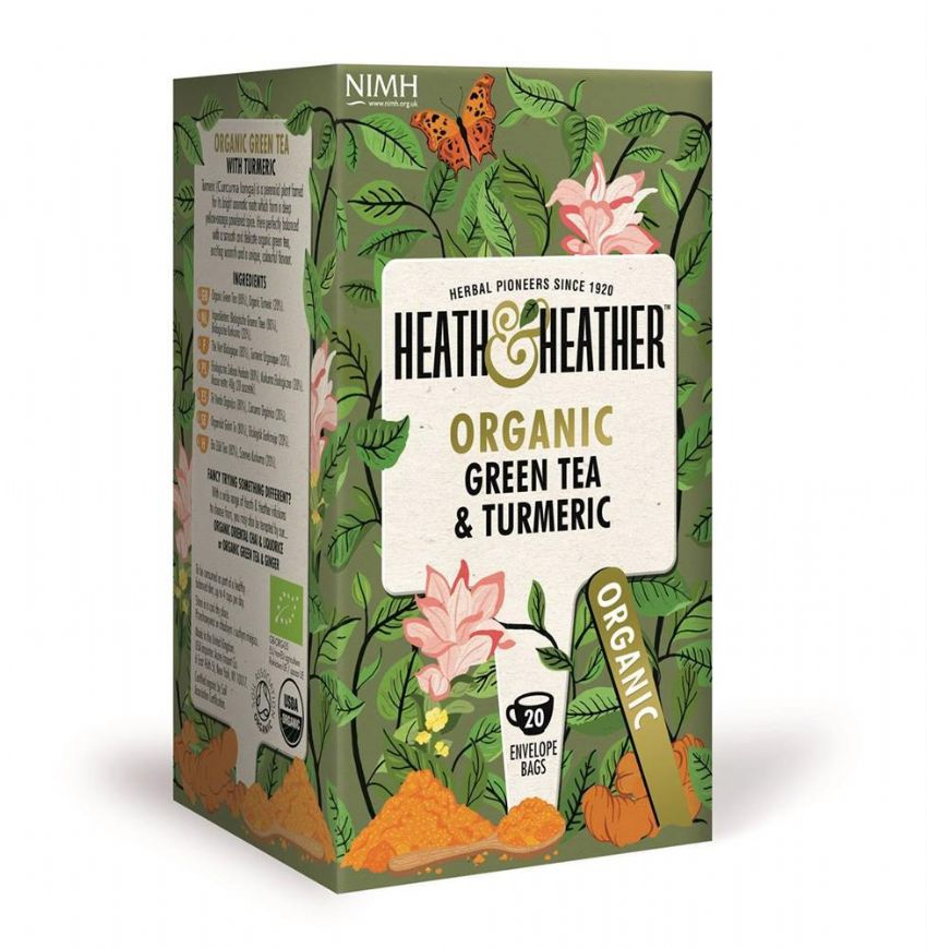 Heath & Heather Herbal Organic  Tea - Green Tea & Turmeric